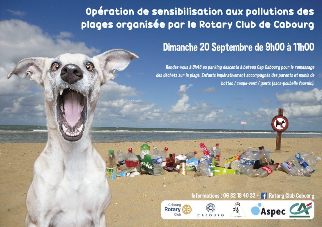 Visuel pour une opération de sensibilisation contre la pollution des plages. Auprès des enfants de l'école Saint-Louis de Cabourg et organisée par le Rotary club Cabourg.